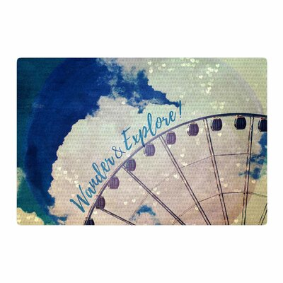 Robin Dickinson Wander and Explore Photography Blue/White Area Rug Rug Size: 2' x 3'