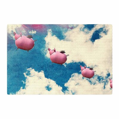 Robin Dickinson When Pigs Fly Digital Pink/Blue Area Rug Rug Size: 2' x 3'