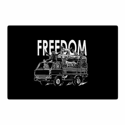 BarmalisiRTB Freedom Digital Black/White Area Rug Rug Size: 4 x 6