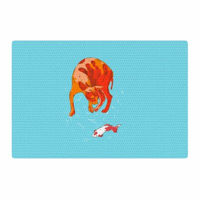 BarmalisiRTB Koi Cat Aqua/Orange Area Rug Rug Size: 4 x 6