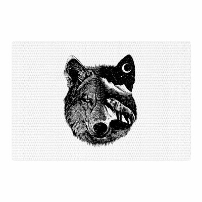 BarmalisiRTB Night Wolf Illustration Black/White Area Rug Rug Size: 2 x 3