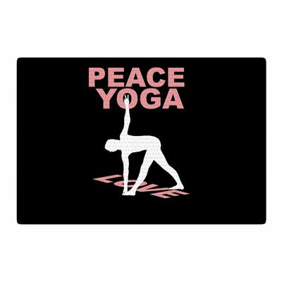 BarmalisiRTB Peace Yoga Love Illustration Pink/White Area Rug Rug Size: 2 x 3