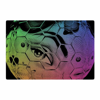 Roberlan Hex Eye Decimal Abstract Pop Art Black/Green Area Rug Rug Size: 2 x 3