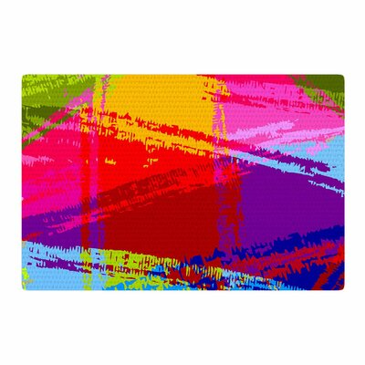 Roberlan Rainbow Chaos Mixed Media Magenta/Green Area Rug Rug Size: 4 x 6