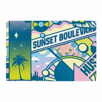 Roberlan Sunset Boulevard Digital Blue/Pink Area Rug Rug Size: 4 x 6