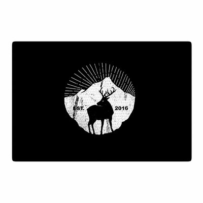 BarmalisiRTB American Mountain Deer Digital Black/White Area Rug Rug Size: 4 x 6
