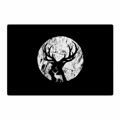 BarmalisiRTB Deer at Night Digital Black/White Area Rug Rug Size: 4 x 6
