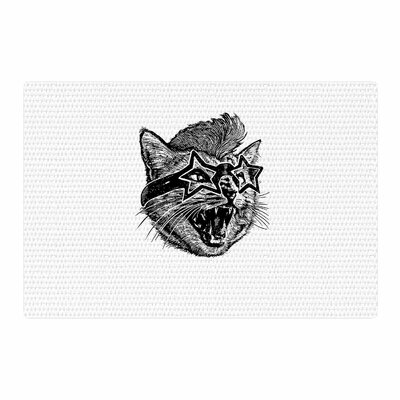 BarmalisiRTB Funky Cat Illustration Black/White Area Rug Rug Size: 4 x 6