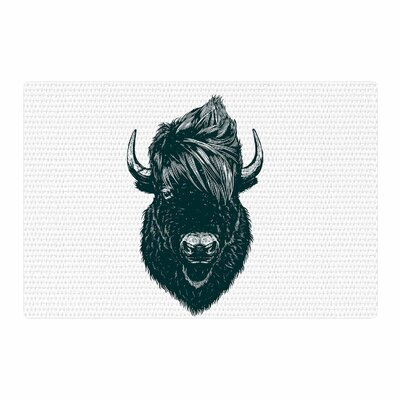 BarmalisiRTB Mohawk Buffalo Digital Green/White Area Rug Rug Size: 2 x 3