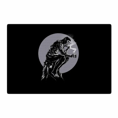 BarmalisiRTB The Thinker Coffee Digital Black/White Area Rug Rug Size: 2 x 3