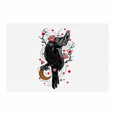 BarmalisiRTB Crow Diamond Digital Black/Red Area Rug Rug Size: 4 x 6