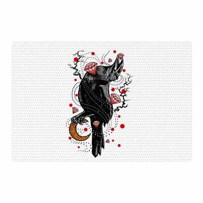 BarmalisiRTB Crow Diamond Digital Black/Red Area Rug Rug Size: 2 x 3