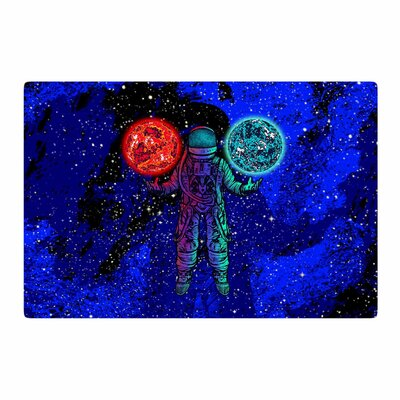 BarmalisiRTB King of Planets Digital Blue/Red Area Rug Rug Size: 2 x 3