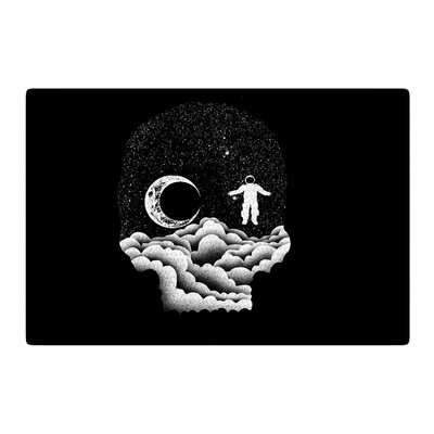 BarmalisiRTB Space Skull Illustration Black/White Area Rug Rug Size: 2 x 3
