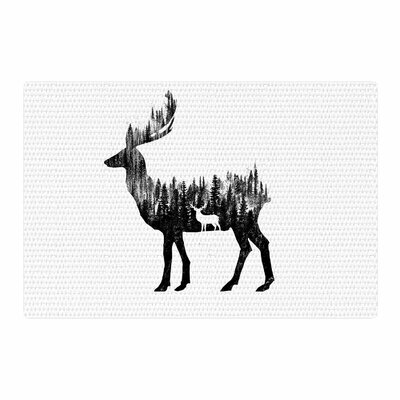 BarmalisiRTB The Deer Digital Black/White Area Rug Rug Size: 4 x 6