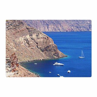 Sylvia Coomes Santorini Coastline Blue/Tan Area Rug Rug Size: 4 x 6