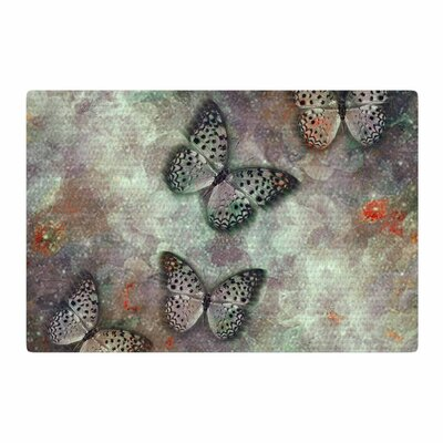 Shirlei Patricia Muniz World Of Butterflies Olive Digital Green Area Rug Rug Size: 4 x 6