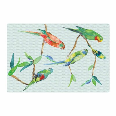Sonal Nathwani Parrot Party Watercolor Blue Area Rug Rug Size: 2 x 3