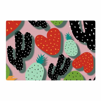 SusanaPaz Cactus and Pineapples Digital Pink/Black Area Rug Rug Size: 2 x 3