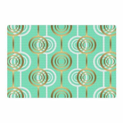 SusanaPaz Circles Digital Green/Gold Area Rug Rug Size: 4 x 6