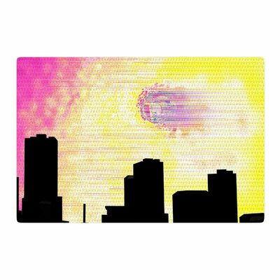 Infinite Spray Art Skylined Pink/Yellow Area Rug Rug Size: 4 x 6
