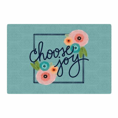 Noonday Design Choose Joy (Floral) Digital Teal/Coral Area Rug Rug Size: 4 x 6