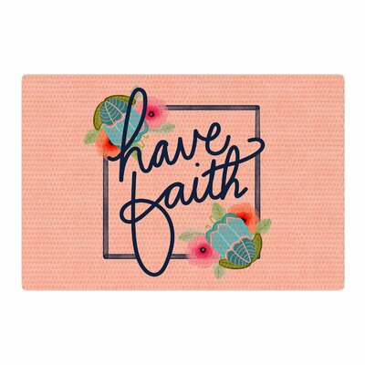 Noonday Design Have Faith Typography Coral/Teal Area Rug Rug Size: 4 x 6