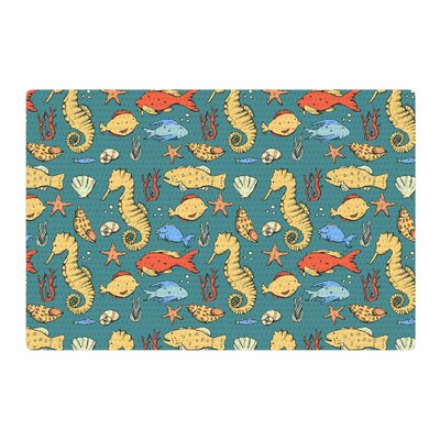 Stephanie Vaeth Under The Sea Illustration Blue/Yellow Area Rug Rug Size: 4 x 6