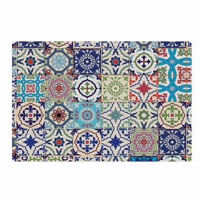 Susan Sanders Eclectic Boho Colorful Tile Photography Blue/Teal Area Rug Rug Size: 2 x 3