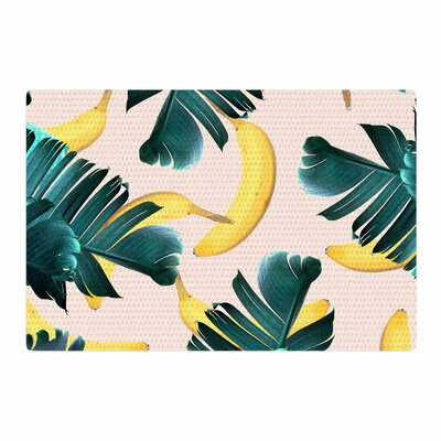 Banana Leaves and Fruit Pastel Mixed Media Green Area Rug Rug Size: 2 x 3