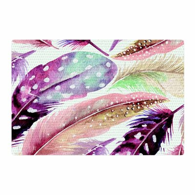 Feathers Painting Brown/Purple Area Rug Rug Size: 2 x 3
