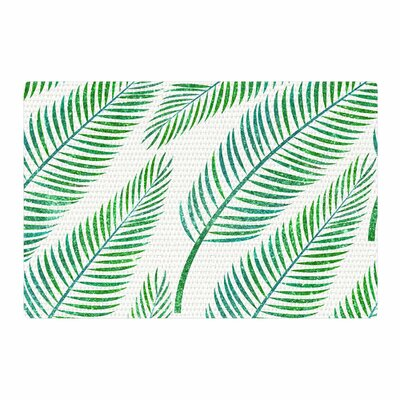 Palm Illustration Teal Green Area Rug Rug Size: 2 x 3