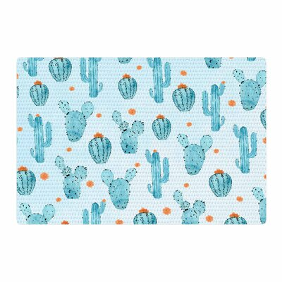 Strawberringo Cactus Pattern Watercolor Blue/Orange Area Rug Rug Size: 2 x 3