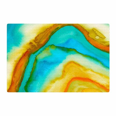 Viviana Gonzalez Agate Inspired Watercolor 10 Watercolor Coral/Yellow Area Rug Rug Size: 2 x 3