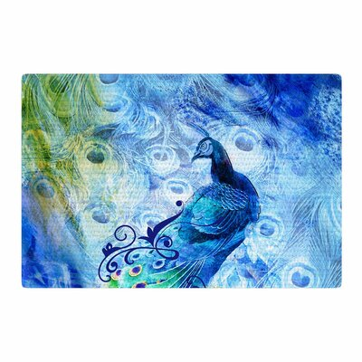 Victoria Krupp Peacock Digital Blue/Yellow Area Rug Rug Size: 2 x 3