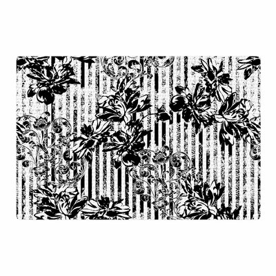 Victoria Krupp Stripes and Flowers Digital Black/White Area Rug Rug Size: 4 x 6