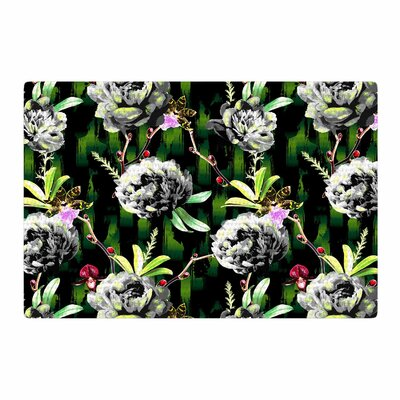 Victoria Krupp Twilight Peonies Digital Black/Green Area Rug Rug Size: 2 x 3