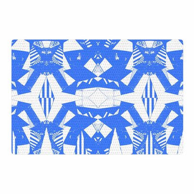 Vasare Nar Azure Geometric Art Deco Pattern Blue/White Area Rug Rug Size: 4 x 6