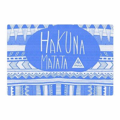 Vasare Nar Hakuna Matata Azure Illustration Blue/White Area Rug Rug Size: 2 x 3