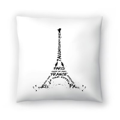 Digital Art Eiffel Tower Throw Pillow Size: 14 H x 14 W x 2 D, Color: Black/White