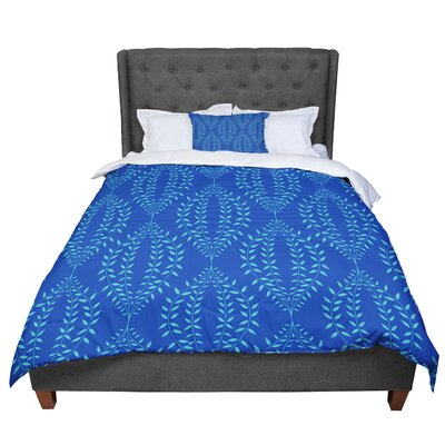 Anneline Sophia Laurel Leaf Floral Comforter Size: King, Color: Blue