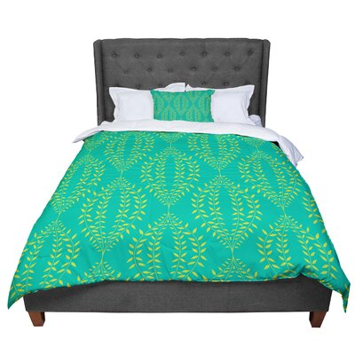Anneline Sophia Laurel Leaf Floral Comforter Size: King, Color: Green