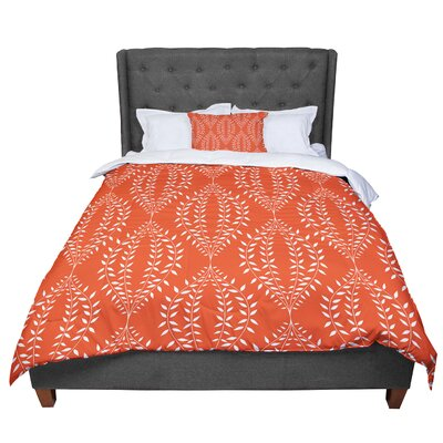 Anneline Sophia Laurel Leaf Floral Comforter Size: Queen, Color: Orange