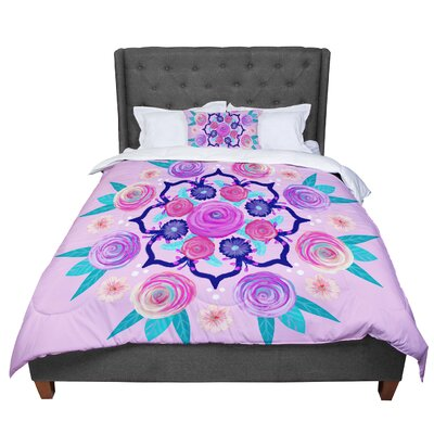 Anneline Sophia Expressive Blooms Mandala Floral Comforter Size: Twin
