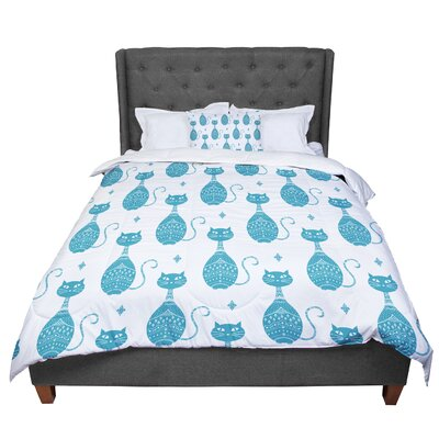 Cristina Bianco Design Cat Pattern Animal Comforter Size: Twin
