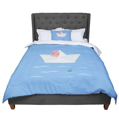 Cristina Bianco Design Cat and Paper Boat Comforter Size: Twin