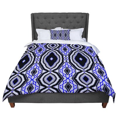 Dawid Roc Inspired by Psychedelic Art 3 Abstract Comforter Size: Queen, Color: Black/Blue