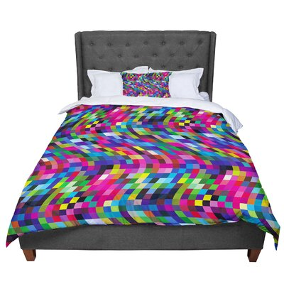 Dawid Roc Colorful Geometric Movement 1 Abstract Comforter Size: King, Color: Pink/Blue