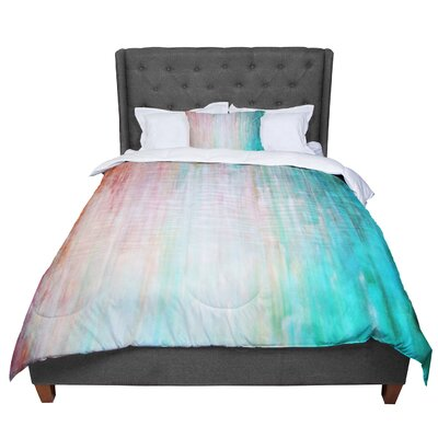 Iris Lehnhardt Color Wash Blush Paint Comforter Size: Twin, Color: Teal