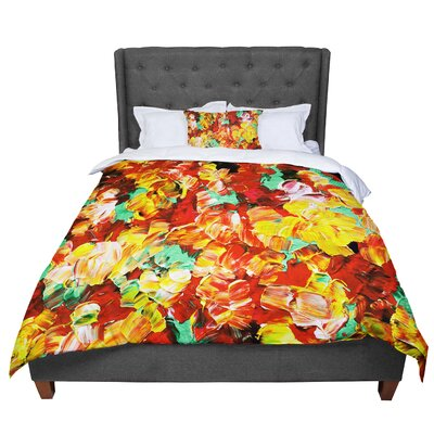 Ebi Emporium Floral Fantasy II Comforter Size: King, Color: Orange/Yellow